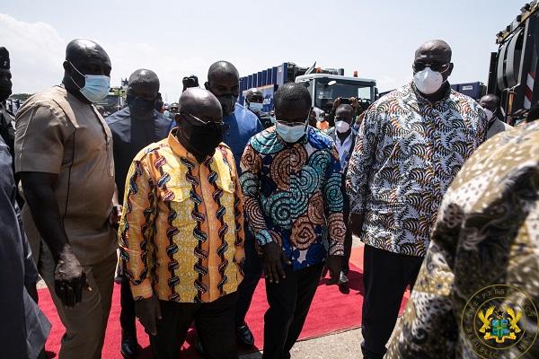 President Akufo-Addo Unveils 101 New Waste Management Trucks & 25 Disinfection Trucks.